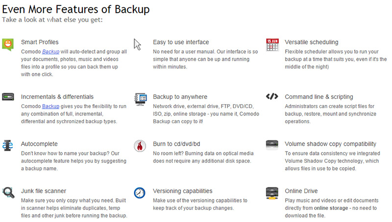comodo-backup-features