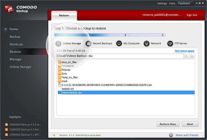 comodo-backup-screen