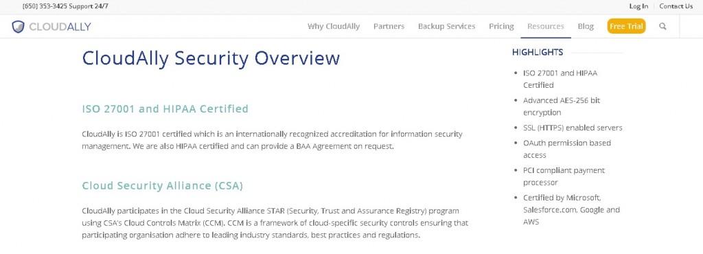 CloudAlly Security