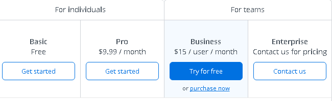 Dropbox pricing plans
